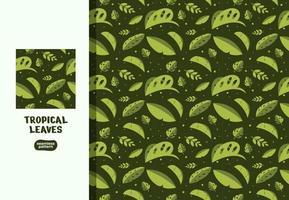 ilustrações de folhas verdes tropicais sem costura vetor