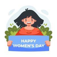 ilustração plana de menina bonita e fofa na celebração do dia internacional da mulher vetor