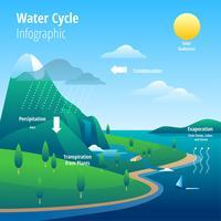 Ilustração de infográfico de ciclo de água