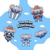 lindas ilustrações de coala de férias de férias vetor
