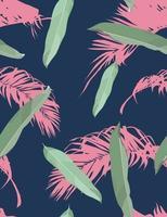 padrão sem emenda de folha exótica, folha de palma de coco, paleta de cores pastel de saturação vintage, vetor de desenho de mão mínimo