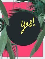 composição de imperfeição plana mínima de folha de palmeira tropical em fundo rosa neon com círculo escuro para texto, modelo de gráfico vetorial de vibração tropical vetor
