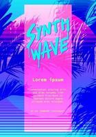 moderno retro flyer artístico, poster synthwave super neon colorido estilo anos 80 anos 90. modelo de gráfico vetorial vetor