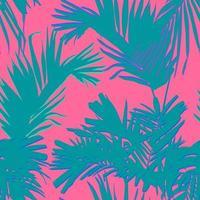 palmeira tropical e folhas de coco, vetor de estilo plano mínimo, rosa pastel doce e verde, padrão sem emenda