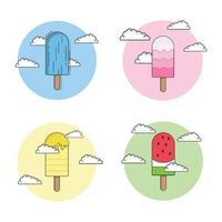 ilustração vetorial de coleção de sorvete vetor