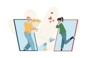 comunicação através da internet rede social namoro online vetor