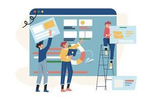 trabalho em equipe criativo construindo um projeto empresarial na internet vetor