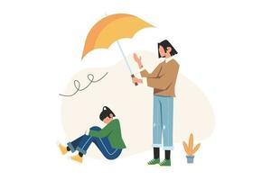 garota segura um guarda-chuva para outra em estado de depressão vetor