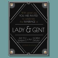 Convite do casamento de Deco do vintage vetor