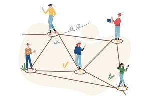 comunicação online através da rede social da internet vetor