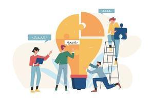 conceito de negócio de pessoas com lâmpada de quebra-cabeça vetor