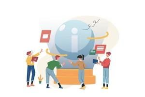 as pessoas reúnem novas informações para construir um negócio vetor