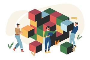trabalho em equipe conectando elementos de blocos de quebra-cabeça vetor