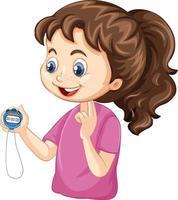 garota treinadora de esportes segurando um personagem de desenho animado com cronômetro vetor