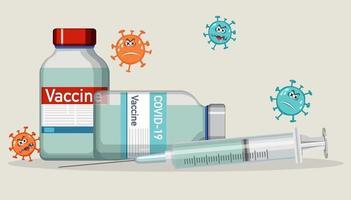 frascos de vacina e seringa em fundo branco vetor