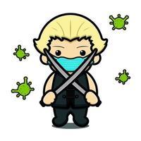 menino bonito segurando espada luta contra vírus cartoon ilustração vetorial vetor