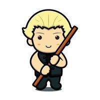 personagem de mascote de arte marcial bonito segurando uma vara de madeira ícone de desenho vetorial vetor
