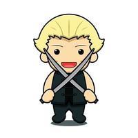 personagem de mascote da arte marcial bonito segurando duas espadas ilustração vetorial de desenho animado vetor