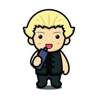 personagem de mascote de arte marcial de menino bonito beber de garrafa ilustração vetorial de desenho animado vetor