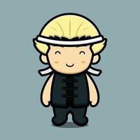 personagem mascote da arte marcial bonito usar cinta de cabeça ilustração vetorial de desenho animado vetor