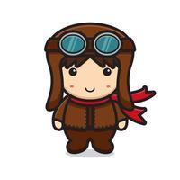 personagem de mascote piloto fofo com rosto sorridente vetor