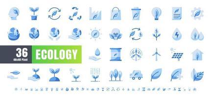 ector de 36 ecologia e conjunto de ícones azul monocromático de energia verde. 48x48 e 192x192 pixels. vetor