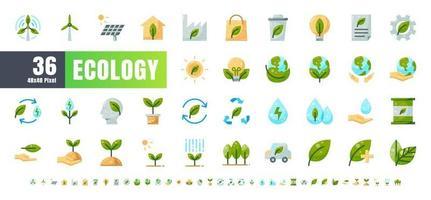 vetor de 36 ecologia e conjunto de ícones de cor plana de energia de energia verde. 48x48 e 192x192 pixels.