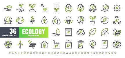 vetor de 36 ecologia e conjunto de ícones de contorno de linha bicolor de energia verde. Traço editável perfeito de 48x48 e 192x192 pixels.