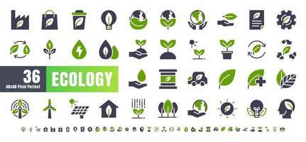 vetor de 36 ecologia e conjunto de ícones de glifo sólido bicolor de energia verde. 48x48 e 192x192 pixels perfeitos.