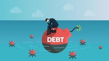 empresário sente estresse sobre sua dívida, empréstimo e financeiro. cercado por vírus. os empresários se preocupam com o conceito de efeito de crise de infecção por coronavírus 2019 ou covid-19. ilustração vetorial. vetor