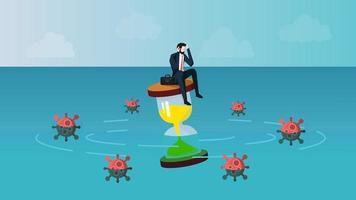 empresário náufrago sentindo ansiedade enquanto está sentado no relógio de areia. o que significa é que os empresários aguardam o conceito de fim de crise de infecção por coronavírus 2019 ou covid-19. ilustração em vetor eps 10.