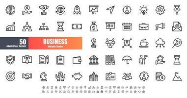 vetor de 50 negócios e conjunto de ícones de contorno de linha financeira. Traço editável perfeito de 48x48 pixels.