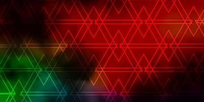 fundo escuro do vetor multicolor com linhas, triângulos.