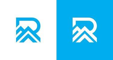 letra r moderna com logotipo do elemento cume, inicial r simples e logotipo da montanha, logotipo do telhado da casa