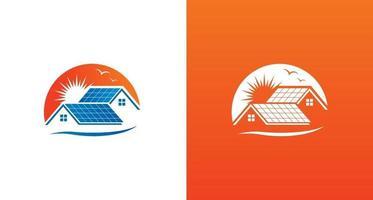 logotipo de painel solar residencial, modelo de logotipo de casa moderna com telhado de painel solar com o fundo do sol vetor