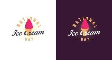dia nacional do sorvete, vetor de modelo de ícone de sorvete vintage