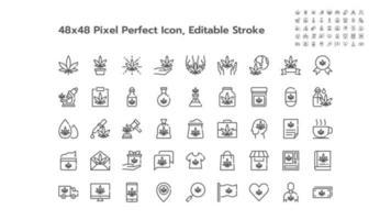 conjunto simples de ícones de contorno de linha de maconha ou cannabis. ícones como médico, folha, óleo, extrato, venda, loja, grátis, medicamento etc. 48x48 pixel perfeito. curso editável. vetor