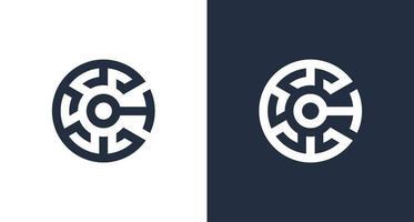 logotipo inicial da letra c criativa com elemento criptográfico abstrato vetor