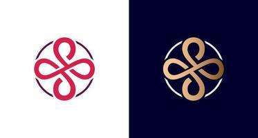 logotipo infinito elegante e luxuoso, símbolo da cruz, letra s no emblema de borda do círculo, vetor. vetor