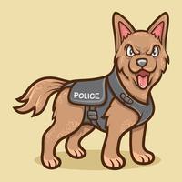 ilustração animal cão policial vetor