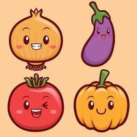 Conjunto de ilustração de personagens de vegetais engraçados e fofos vetor