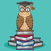 pássaro animal coruja sentada na ilustração de livros