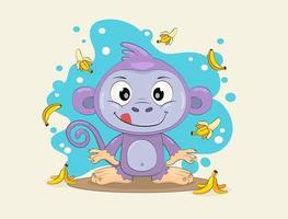 macaco engraçado com bananas vetor