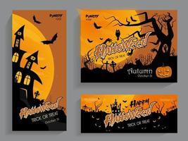 folhetos com convites de halloween vetor