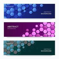 brochuras criativas com ladrilhos hexagonais gradientes vetor