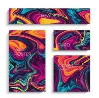 pintura líquida abstrata, pode ser usada como um plano de fundo moderno para papéis de parede, cartazes, cartões, convites, sites. arte moderna. pintura com efeito mármore. tintas azuis, roxas e vermelhas misturadas. vetor eps 10