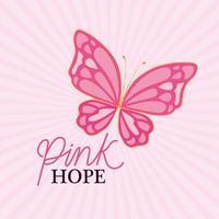 borboleta para desenho vetorial de esperança rosa vetor