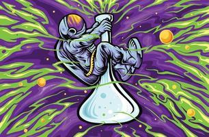 astronauta no fundo da textura do espaço do copo vetor