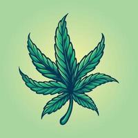 folha de cannabis colorida estilo vintage vetor