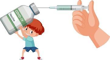 um menino segurando um frasco de vacina covid-19 com seringa de vacina vetor
